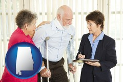 alabama map icon and injured person consulting with a personal injury attorney