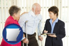 arkansas map icon and injured person consulting with a personal injury attorney