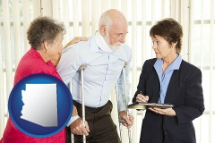 arizona map icon and injured person consulting with a personal injury attorney
