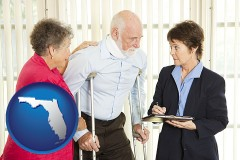 florida map icon and injured person consulting with a personal injury attorney