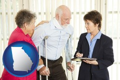 georgia map icon and injured person consulting with a personal injury attorney