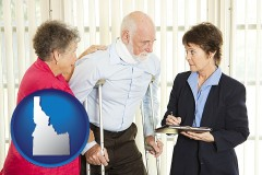 idaho map icon and injured person consulting with a personal injury attorney