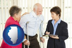 illinois map icon and injured person consulting with a personal injury attorney