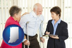 indiana map icon and injured person consulting with a personal injury attorney