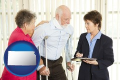 kansas map icon and injured person consulting with a personal injury attorney