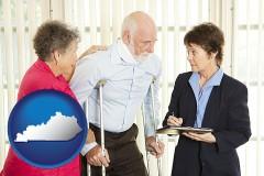 kentucky map icon and injured person consulting with a personal injury attorney