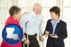 louisiana map icon and injured person consulting with a personal injury attorney