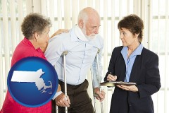 massachusetts map icon and injured person consulting with a personal injury attorney