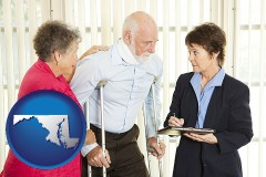 maryland map icon and injured person consulting with a personal injury attorney