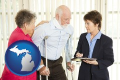 michigan map icon and injured person consulting with a personal injury attorney