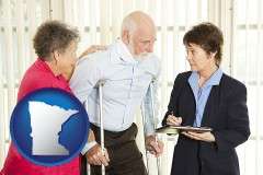 minnesota map icon and injured person consulting with a personal injury attorney