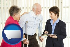 montana map icon and injured person consulting with a personal injury attorney