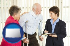 north-dakota map icon and injured person consulting with a personal injury attorney