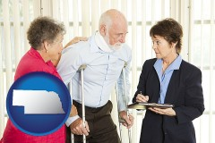 nebraska map icon and injured person consulting with a personal injury attorney
