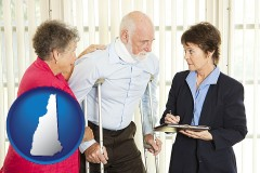 new-hampshire map icon and injured person consulting with a personal injury attorney