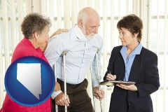 nevada map icon and injured person consulting with a personal injury attorney