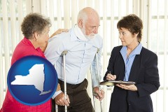 new-york map icon and injured person consulting with a personal injury attorney