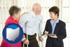 ohio map icon and injured person consulting with a personal injury attorney