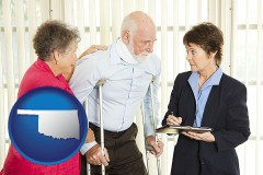 oklahoma map icon and injured person consulting with a personal injury attorney