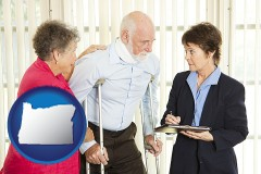 oregon map icon and injured person consulting with a personal injury attorney