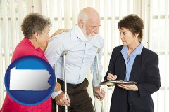pennsylvania map icon and injured person consulting with a personal injury attorney