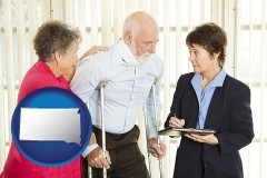 south-dakota map icon and injured person consulting with a personal injury attorney