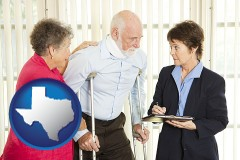 texas map icon and injured person consulting with a personal injury attorney