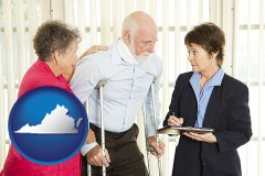 virginia map icon and injured person consulting with a personal injury attorney