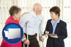 washington map icon and injured person consulting with a personal injury attorney
