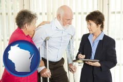wisconsin map icon and injured person consulting with a personal injury attorney